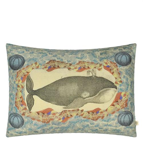 "Blue Coral Whale and Ship  24"" x 18"" Rectangular Pillow by John Derian"