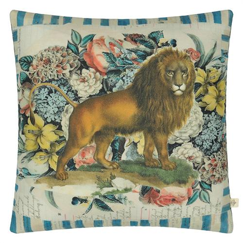 "Manes Delft Lion and Horse 20"" Square Pillow by John Derian"