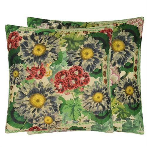 "Blue Daisies Sepia 20"" Square Pillow by John Derian"