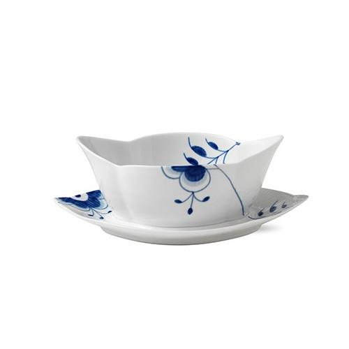 Blue Fluted Mega Gravy Boat with Stand by Royal Copenhagen