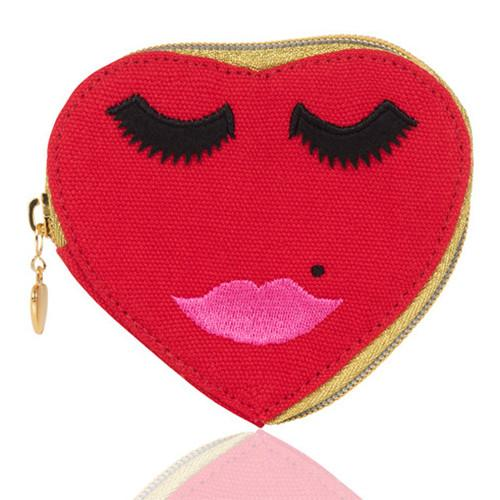 Lovely Lashes Canvas Heart Purse by Emma Lomax London