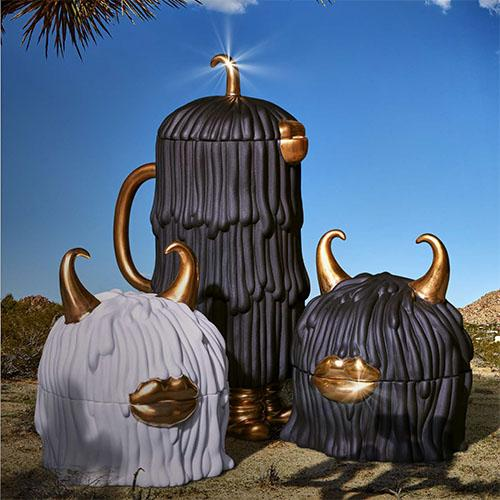 Haas Mojave Coffee and Tea Pot, Black/Gold by L'Objet
