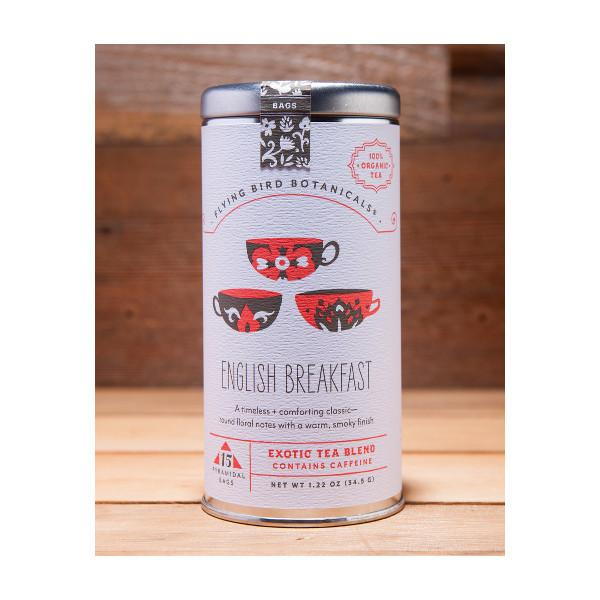 English Breakfast Tea, Tin of 15 Sachets by Flying Bird Botanicals