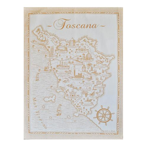 "Yellow Map of Tuscany Cotton Kitchen Towel, 31"" x 22"", Set of 4 by Abbiamo Tutto"