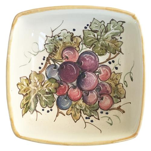 "Vineyard Purple Grapes Square Bowl, 5.5"" by Abbiamo Tutto"