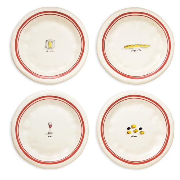 French Picnic Plates, Set of 4 by Rae Dunn for Magenta