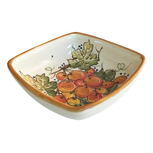 "Vineyard Red Grapes Square Bowl, 5.5"" by Abbiamo Tutto"