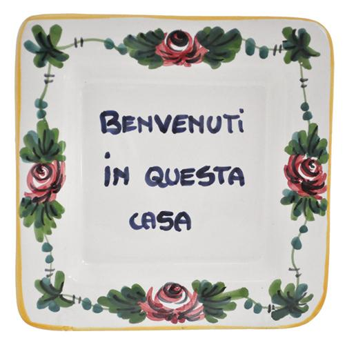 "Benvenuti a Questa Casa - Welcome to this Home Small Tray, 5"" x 5"" by Abbiamo Tutto"