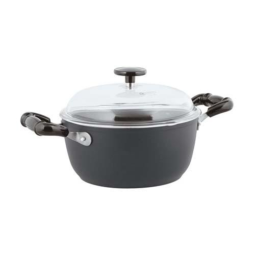 "Quarzo Nero Aluminum Non-Stick Sauce Pot with Lid, 2 Handles, 8"" by Sambonet"