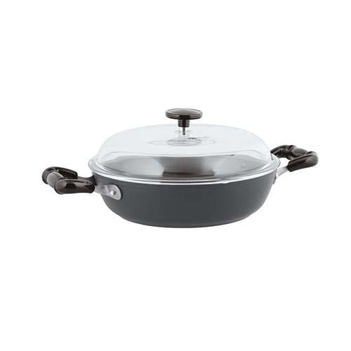 Quarzo Nero Aluminum Non-Stick Saute Pan with Lid, 2 Handles by Sambonet
