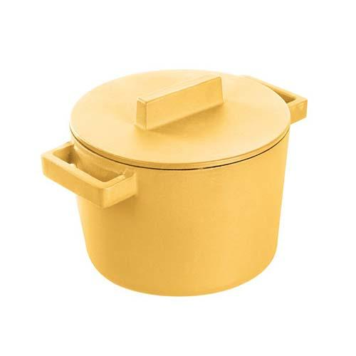 "Terracotto Cast Iron Sauce Pot with Lid, Vanilla/Yellow, 6.25"" by Sambonet"