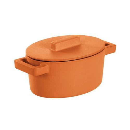 Terracotto Cast Iron Oval Casserole Pot with Lid, Curry/Orange by Sambonet