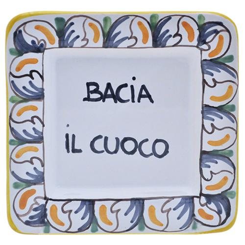 "Bacia Il Cuoco - Kiss the Cook Small Tray, 5"" x 5"" by Abbiamo Tutto"