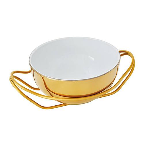 New Living Round Gold Porcelain Spaghetti Dish with Holder by Sambonet