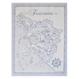 "Blue Map of Tuscany Cotton Kitchen Towel, 31"" x 22"", Set of 4 by Abbiamo Tutto"