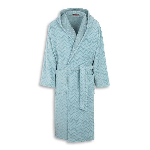 Rex Degraded Chevron Hooded Solid Color Bathrobe by Missoni Home