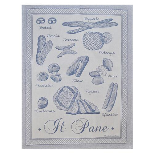 "Blue Italian Bread Cotton Kitchen Towel, 31"" x 22"", Set of 4 by Abbiamo Tutto"