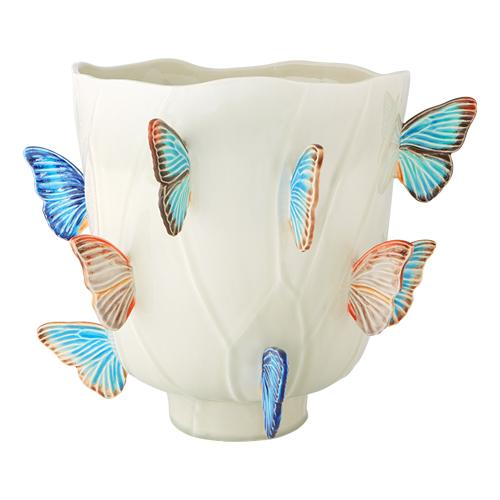 "Cloudy Butterflies Vase, 16"" by Claudia Schiffer for Bordallo Pinheiro"