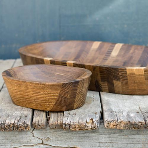 Hand Carved Black Walnut Oval Bowl