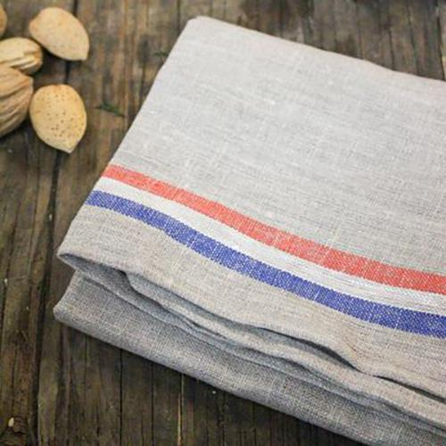 Red, White and Blue Linen Dish Towels, Set of 2 by Thieffry Freres & Cie