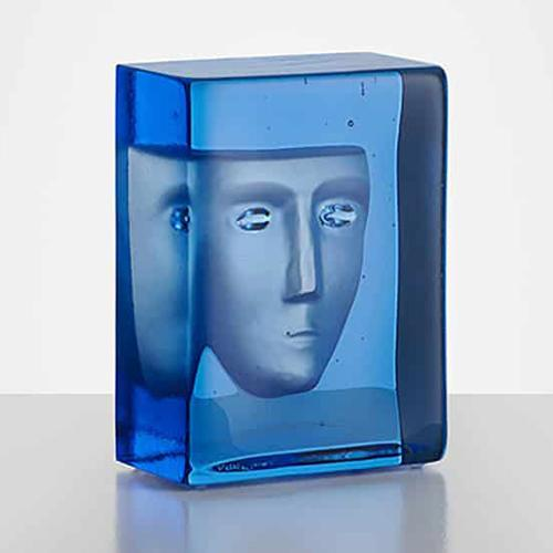 Azure Frost Limited Edition Glass Sculpture by Bertil Vallien for Kosta Boda