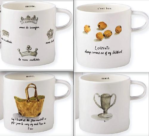 French Sketchbook Mugs, Set of 4 by Rae Dunn