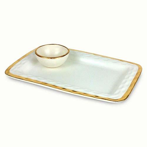 "Truro Giftware Gold Chip and Dip, 12.5"" by Michael Wainwright"