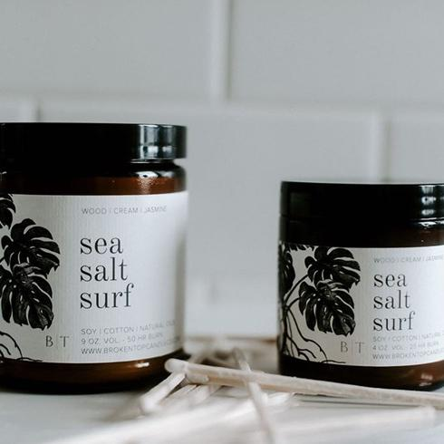 Sea Salt Surf  9 oz Candle in Lifestyle by Broken Top Candle Co.