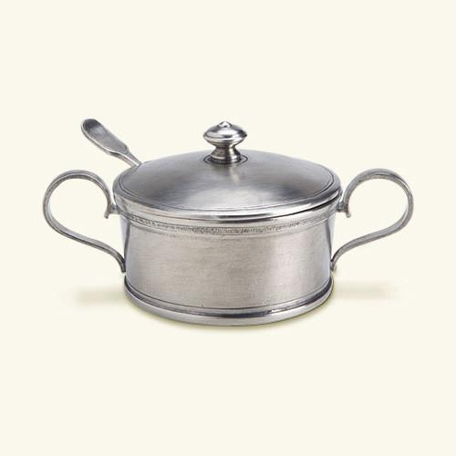 Sugar Bowl with Handles and Spoon by Match Pewter