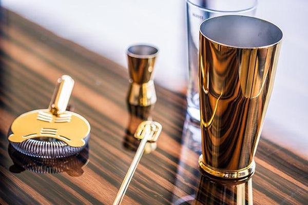 Gold-Plated Bar Set by Ettore Sottsass for Alessi