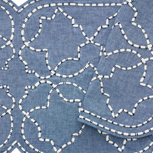 Arabesque Navy Table Runner Close Up by Kim Seybert