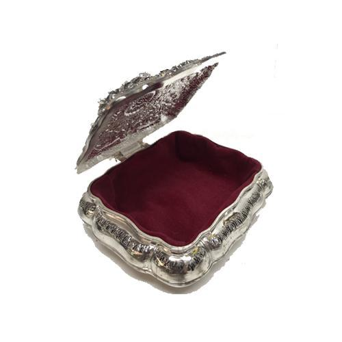 Cushion Silverplated Jewelry Box with Key by Lisa Carrier Designs