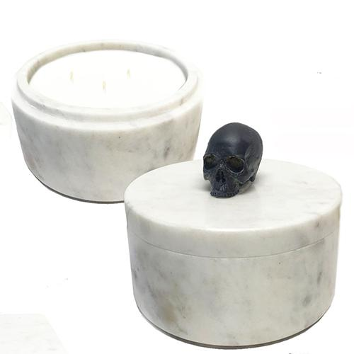 Marble Collection Skull Candle by Lisa Carrier Designs