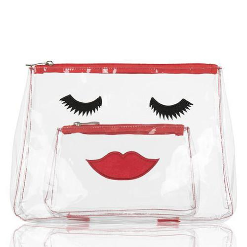 Lovely Lashes Clear Toiletry & Make-up Bag Set by Emma Lomax London