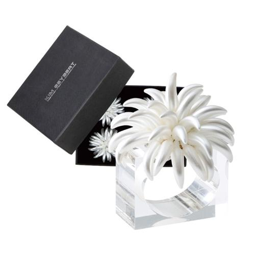 Blossom Napkin Ring, Ivory, set of 4 by Kim Seybert