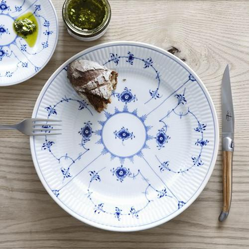 Blue Fluted Plain Footed Cake Plate By Royal Copenhagen