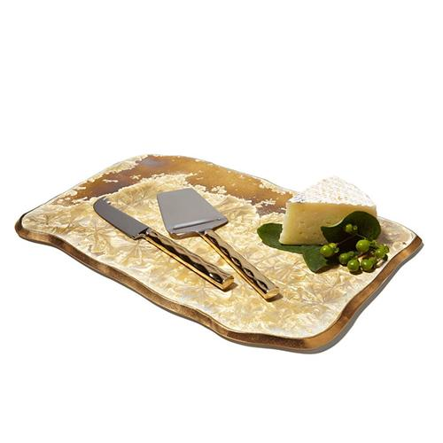 "Borealis Medium Gold Rectangular Platter, 16"" by Michael Wainwright"