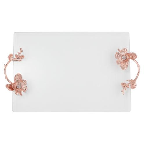 Botanica Glass Tray, Rose Gold by Olivia Riegel