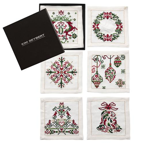 Yuletide Cocktail Napkins with box by Kim Seybert