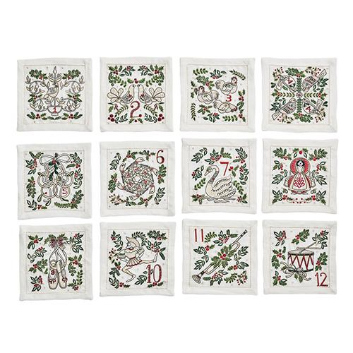 12 Days of Christmas Cocktail Napkins, Set of 12 by Kim Seybert
