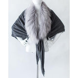 Faux Fur and Cashmere Square Stole or Shawl by Evelyne Prelonge