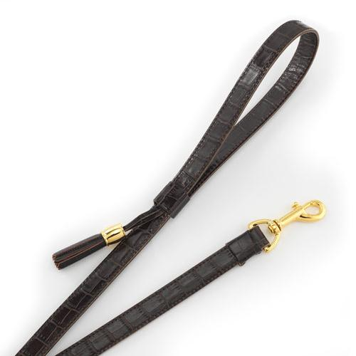 Chocolate Crocodile Embossed Calfskin Dog Leash with Tassel by Olivia Riegel