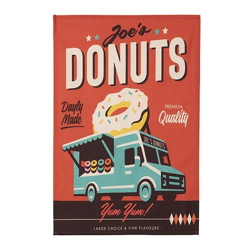 Joe's Donuts Tea Towel by MISTERATOMIC