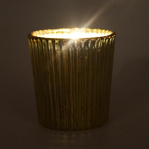 Small Gold or Silver Antiqued Mercury Glass Tealight