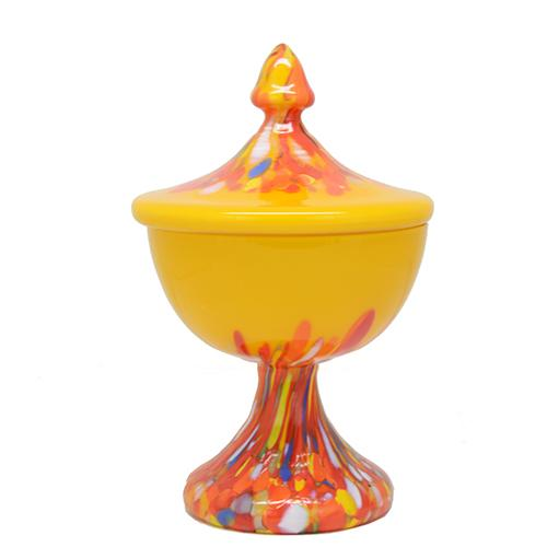 Kralik 'End of Day' Art Glass Covered Candy Dish, 8""