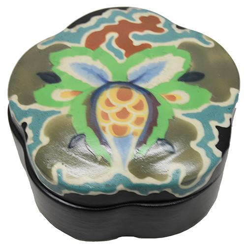 Czechoslovakian Art Deco Ceramic Dresser Box, 4.5""