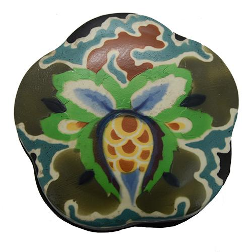 Czechoslovakian Art Deco Ceramic Dresser Box, 4.5