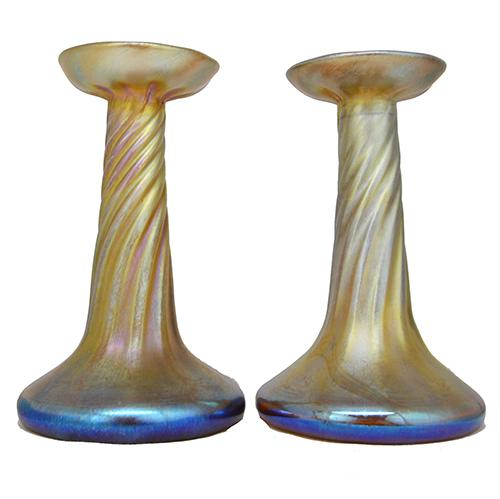 Favrile Candle Lamp Base or Candlestick by Louis Comfort Tiffany, Pair