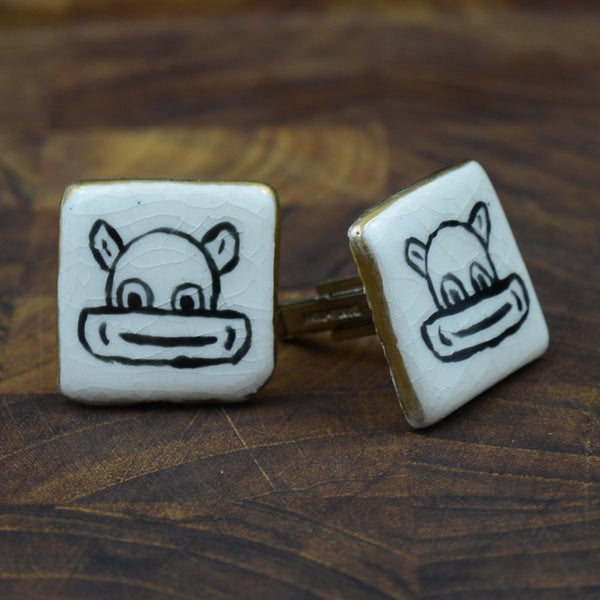 Ceramic Cufflinks by Fenwick & Sailors (attrib.)