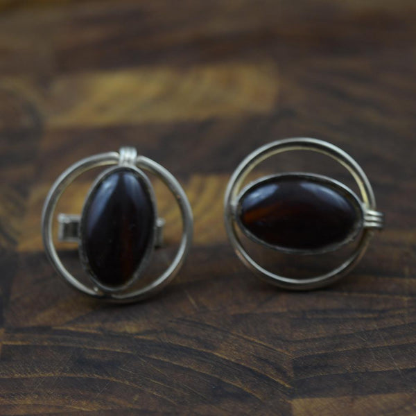 Vintage Faux Tigereye Cufflinks by Swank
